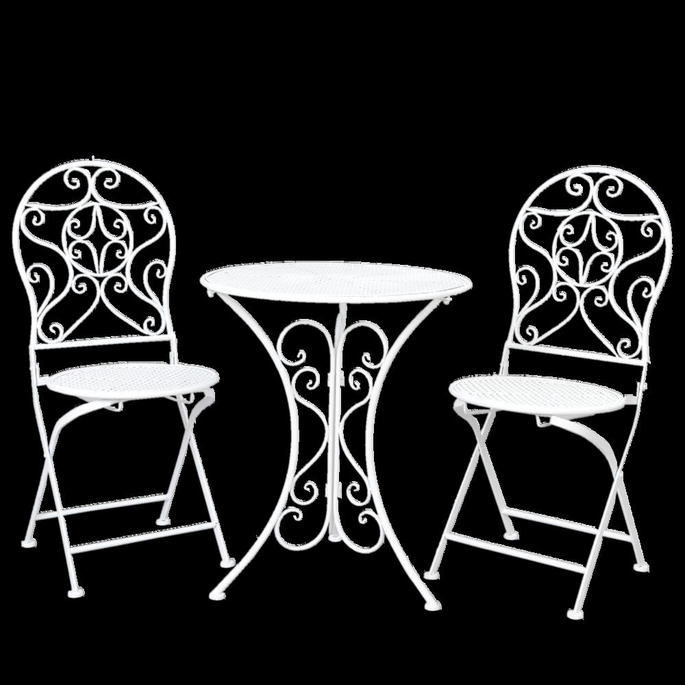 Clayre Eef Metall Bistro Tisch Mit 2 Stühlen Weiß