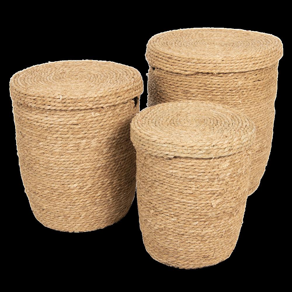 Clayre & Eef 3er Set Körbe mit Deckel aus Seegras