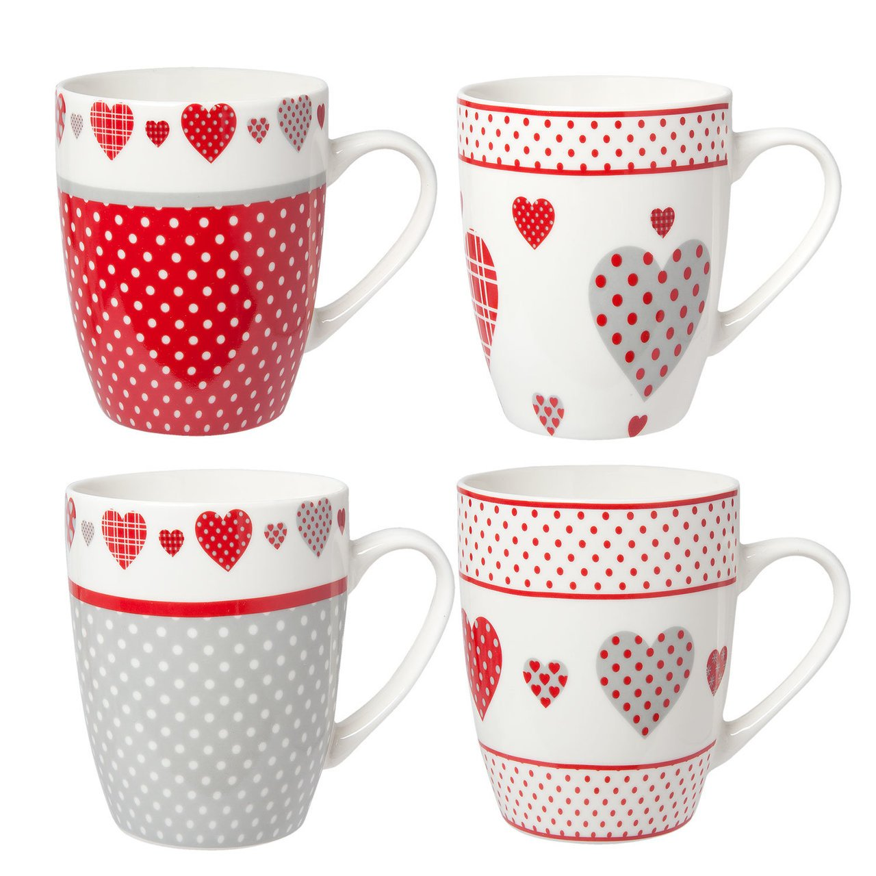 Clayre & Eef 4 teiliges Becher Set Hearts
