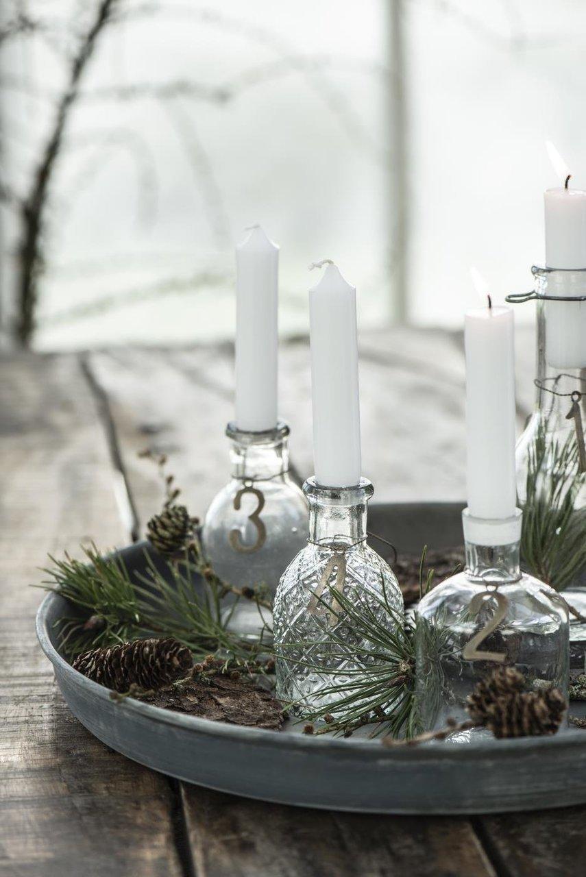 Advents Deko mit Glas-Flaschen