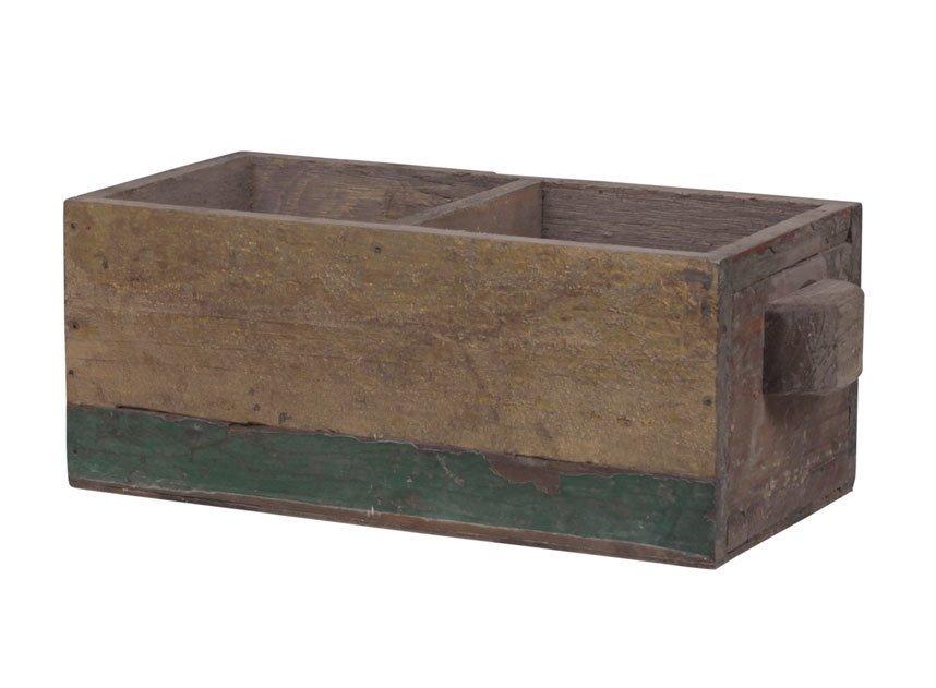 Chic Antique Alte Franz. Holzbox Holzkiste mit 2 Fächern