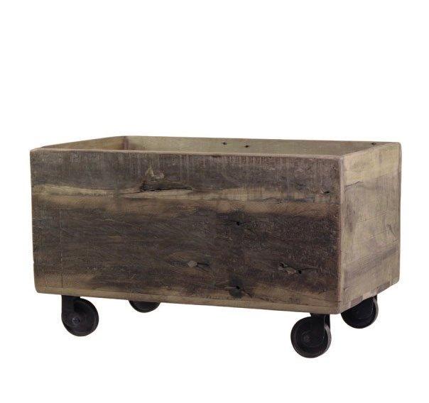 Chic Antique Alter Holz Kasten Grimaud auf Rädern Unikat