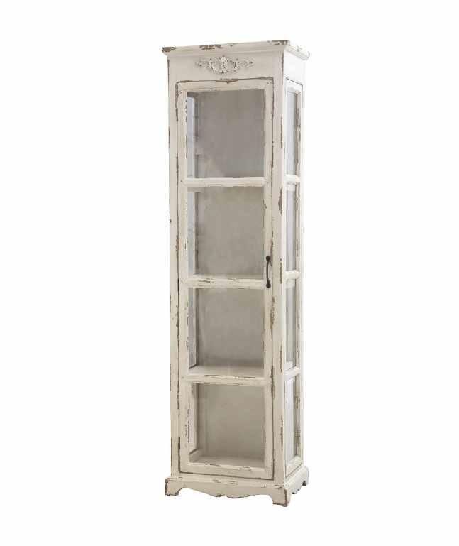 Chic Antique Alter Schrank mit 3 Regalen und Glastür