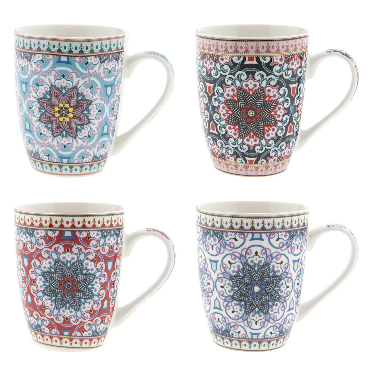Clayre & Eef Becher 4er Set Flowers