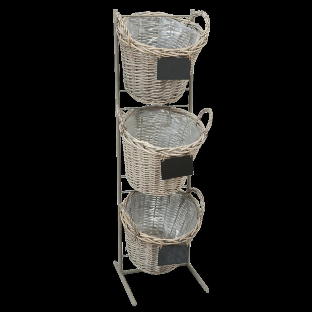 Clayre & Eef Blumentopf Ständer mit drei Körben