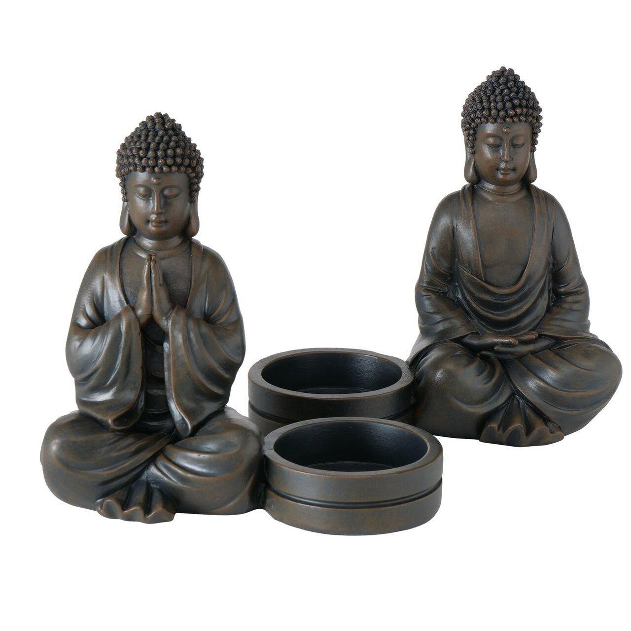 Boltze Kerzenleuchter Buddha 2er Set