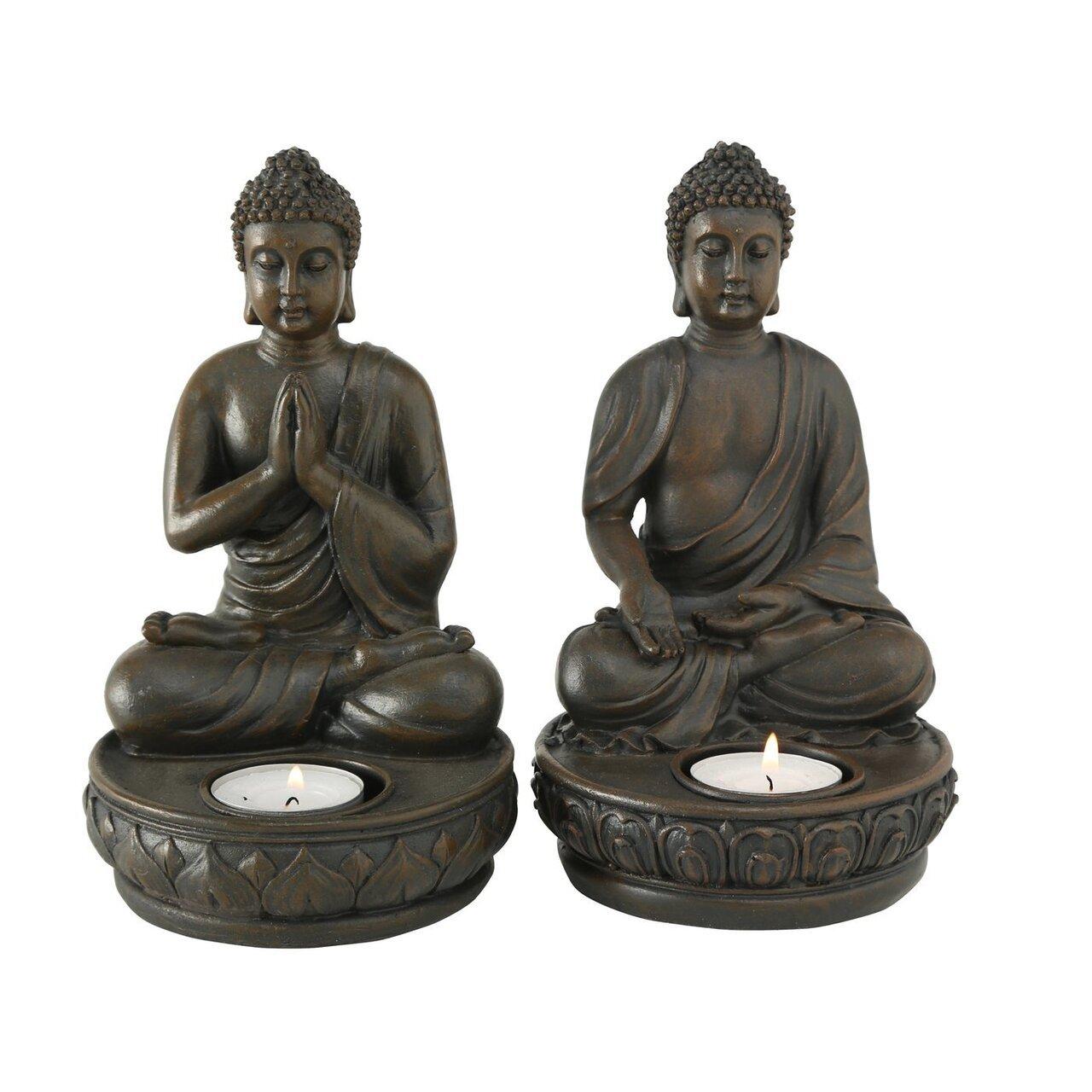 Boltze Teelichthalter Buddha 2er Set