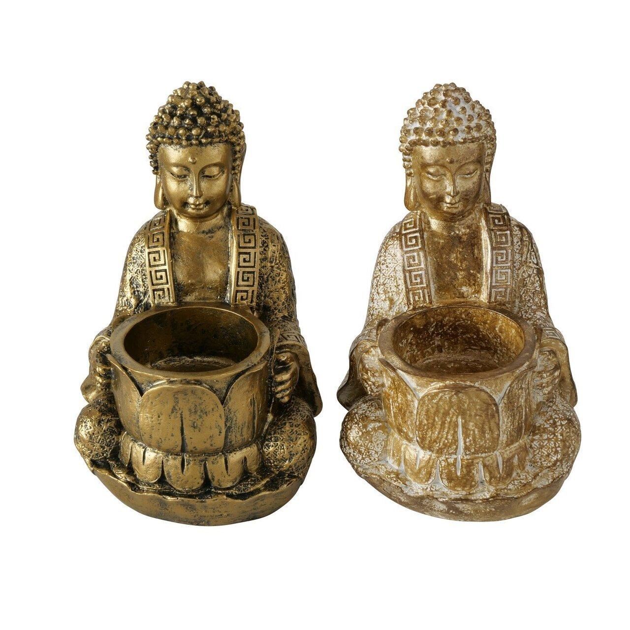 Boltze Teelichthalter Jarven 2er Buddha