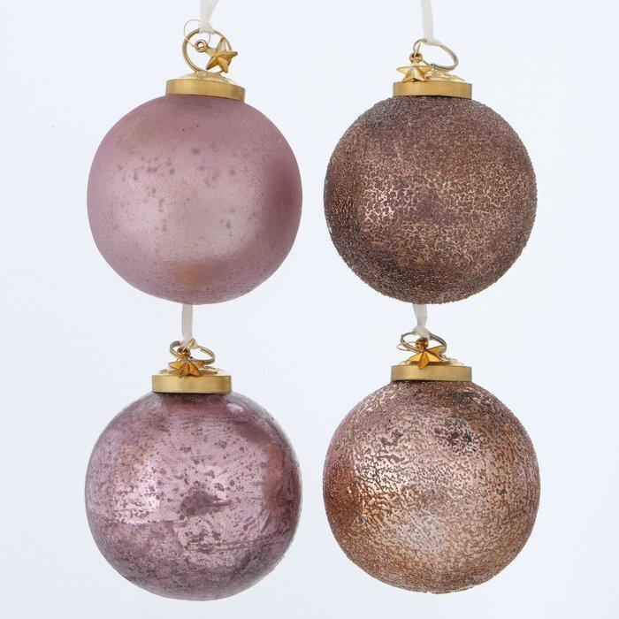 Boltze Weihnachtskugel Blushy 4er Set