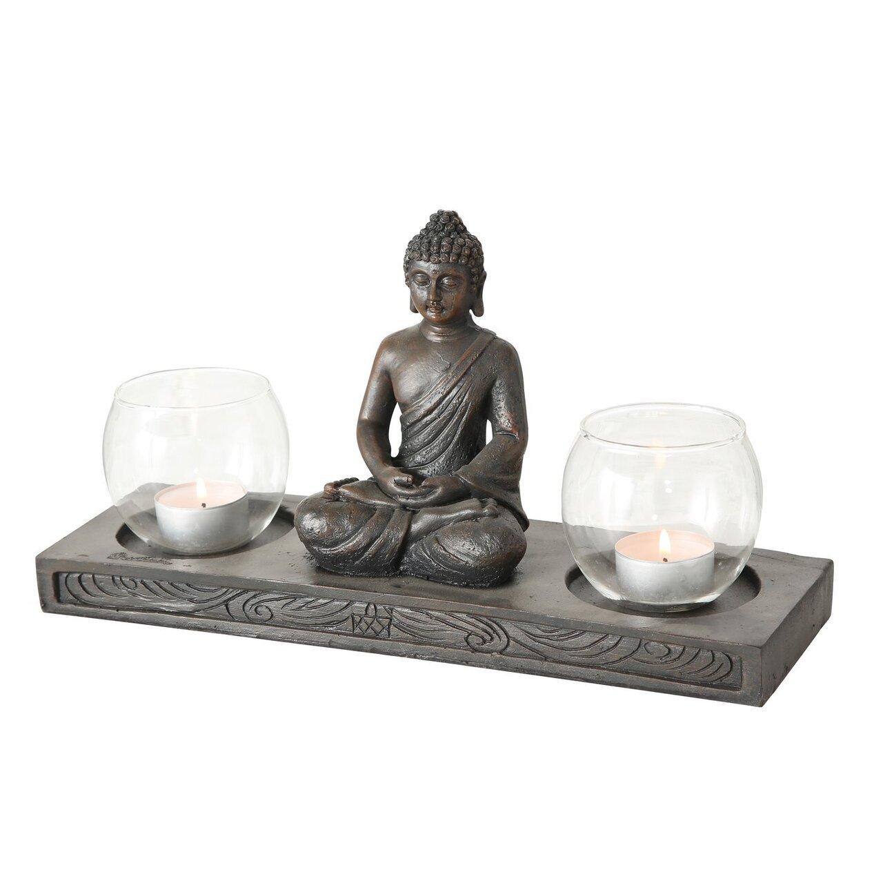 Boltze Windlicht Tablett Buddha