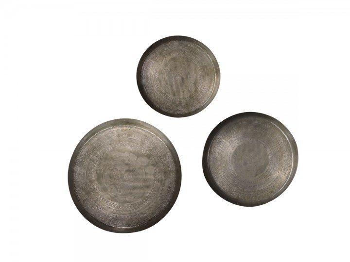 Chic Antique 3er Tablett Set in Messing rund