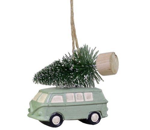 Chic Antique Baumschmuck Auto mit Weihnachtsbaum türkis