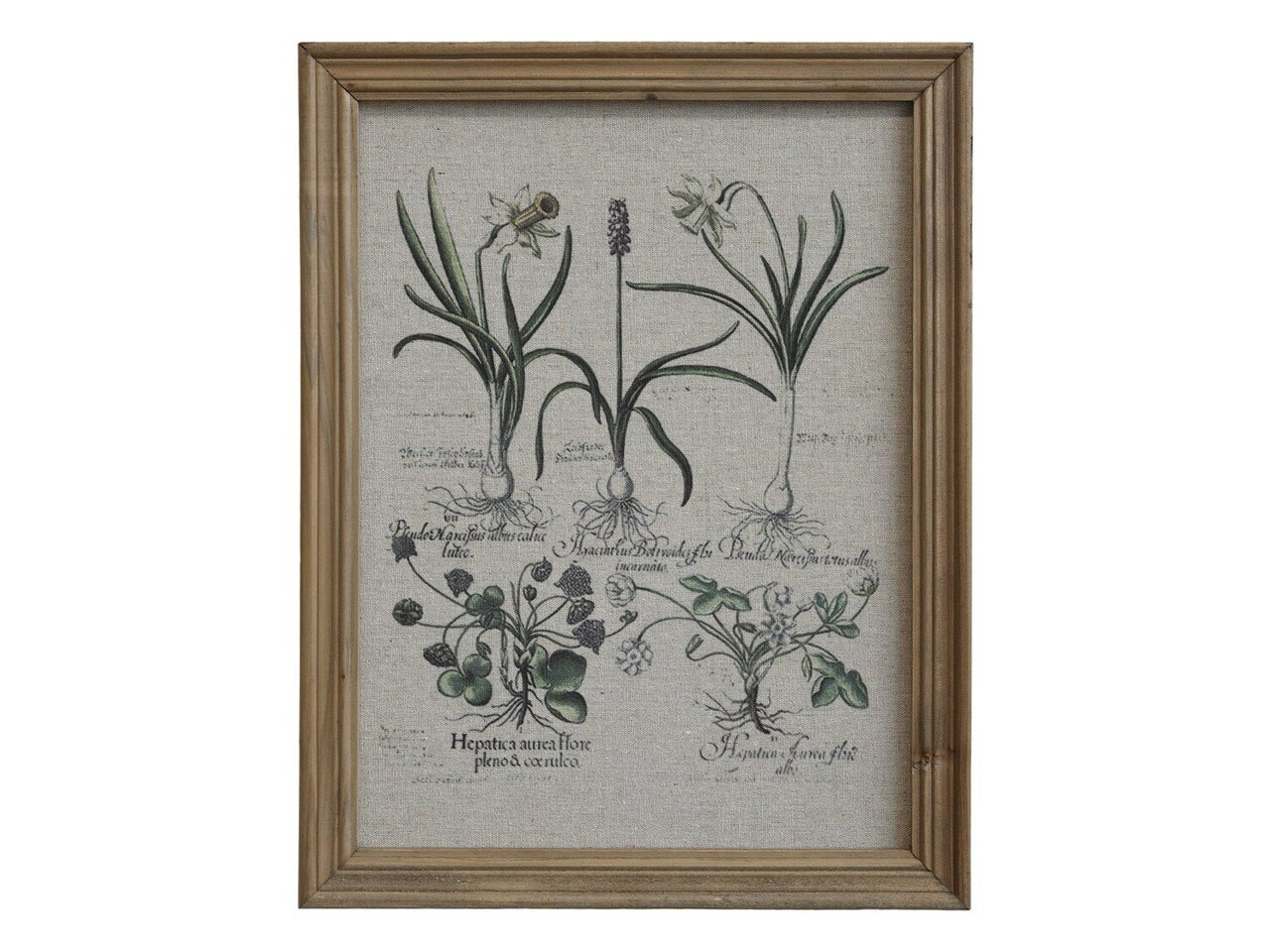 Chic Antique Bild mit Blumendruck & Naturrahmen