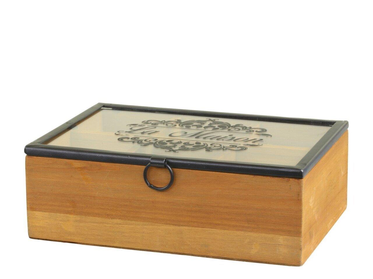 Chic Antique Box mit Druck und 6 Fächern