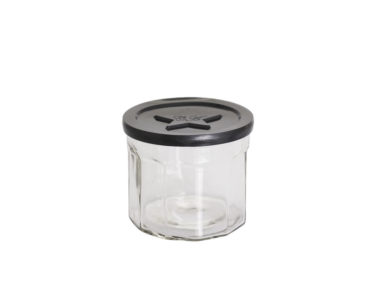 Chic Antique Französisches Marmeladenglas schwarzer Deckel