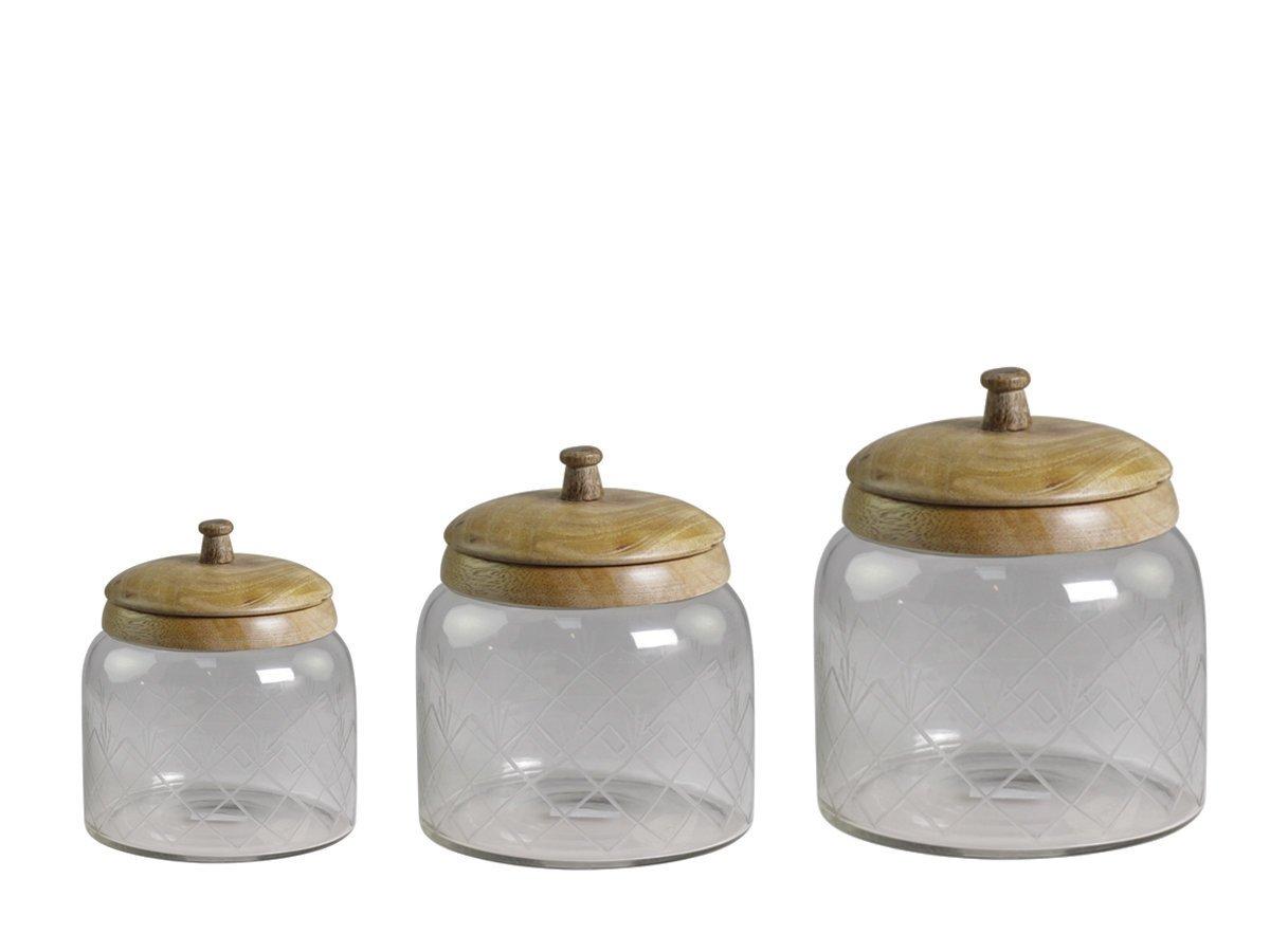 Chic Antique Glas Behälter mit Mangoholz Deckel