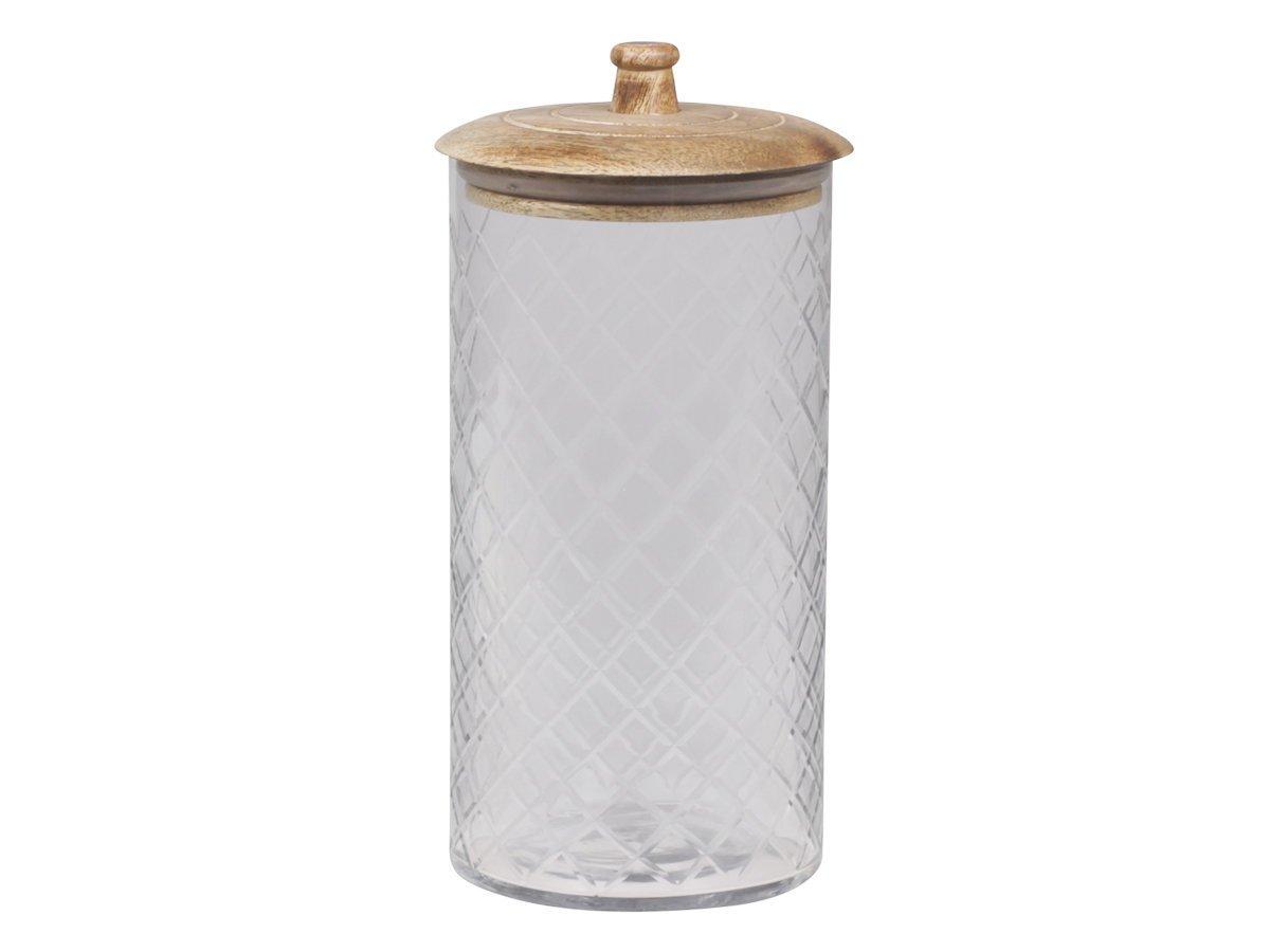 Chic Antique Glas Behälter mit Mangoholz Deckel Zylinder