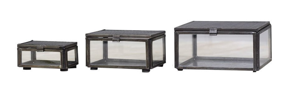 Chic Antique Glas Boxen im 3er Set