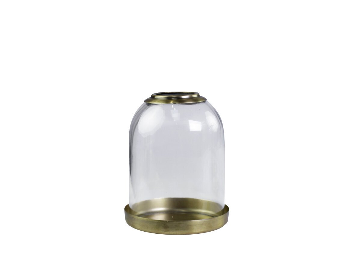 Chic Antique Glas Glocke mit Messingtablett