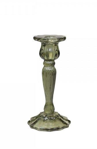 Chic Antique Glas Kerzenständer mit Rillen olive