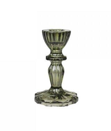 Chic Antique Glas Kerzenständer mit Spitzenkante olive