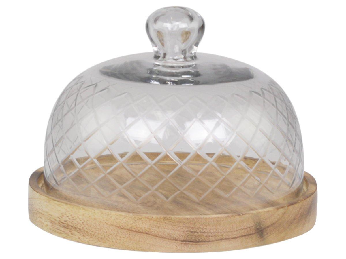 Chic Antique Glasglocke mit Platte aus Mangoholz