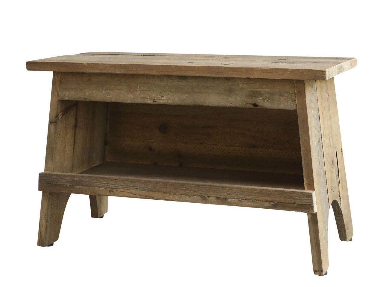 Chic Antique Holz Bank mit Ablage