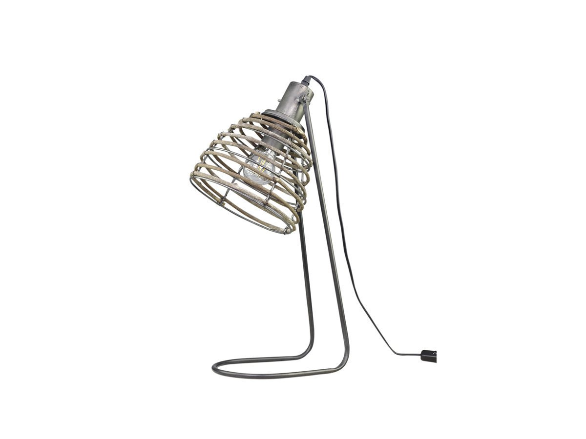 Chic Antique Lampe mit Rattan Schirm