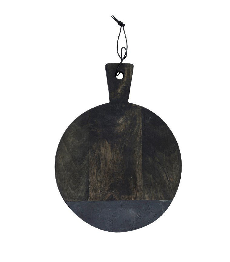 Chic Antique Laon Tapasbrett Mangoholz mit Steinplatte