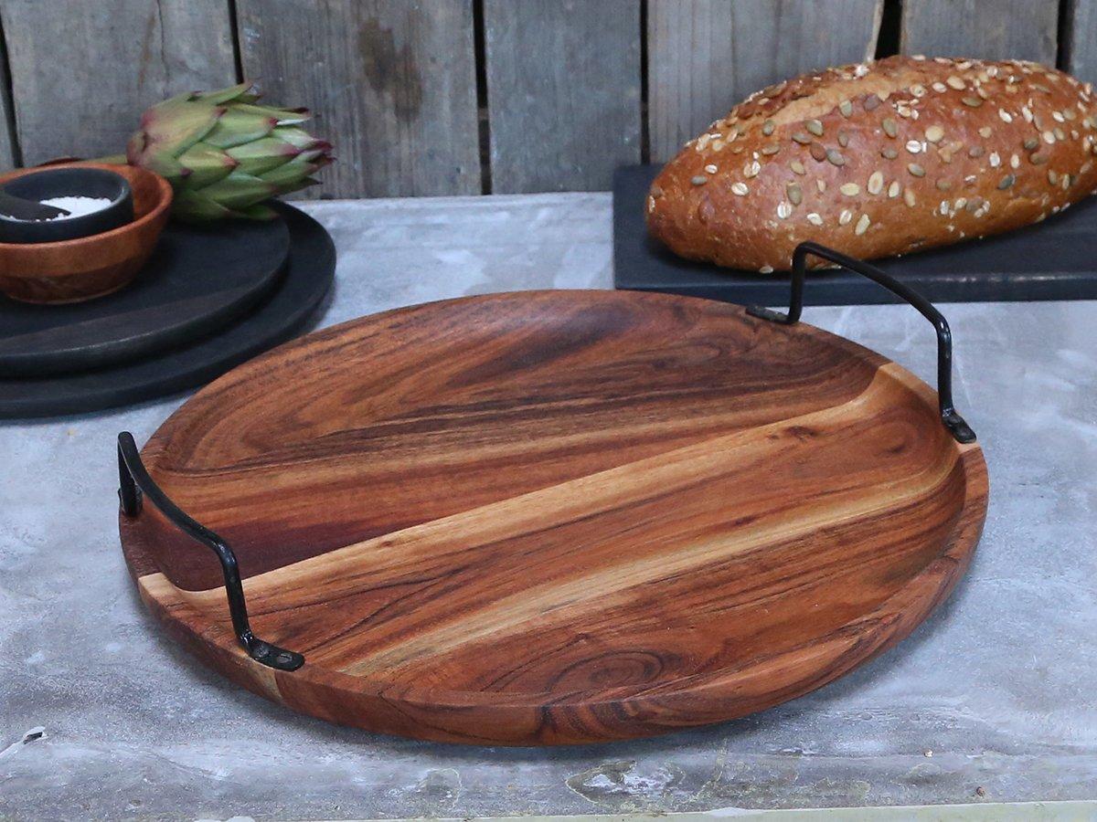 Impressionen zu Chic Antique Laon Tapastablett aus Akazienholz mit Eisengriff, Bild 1
