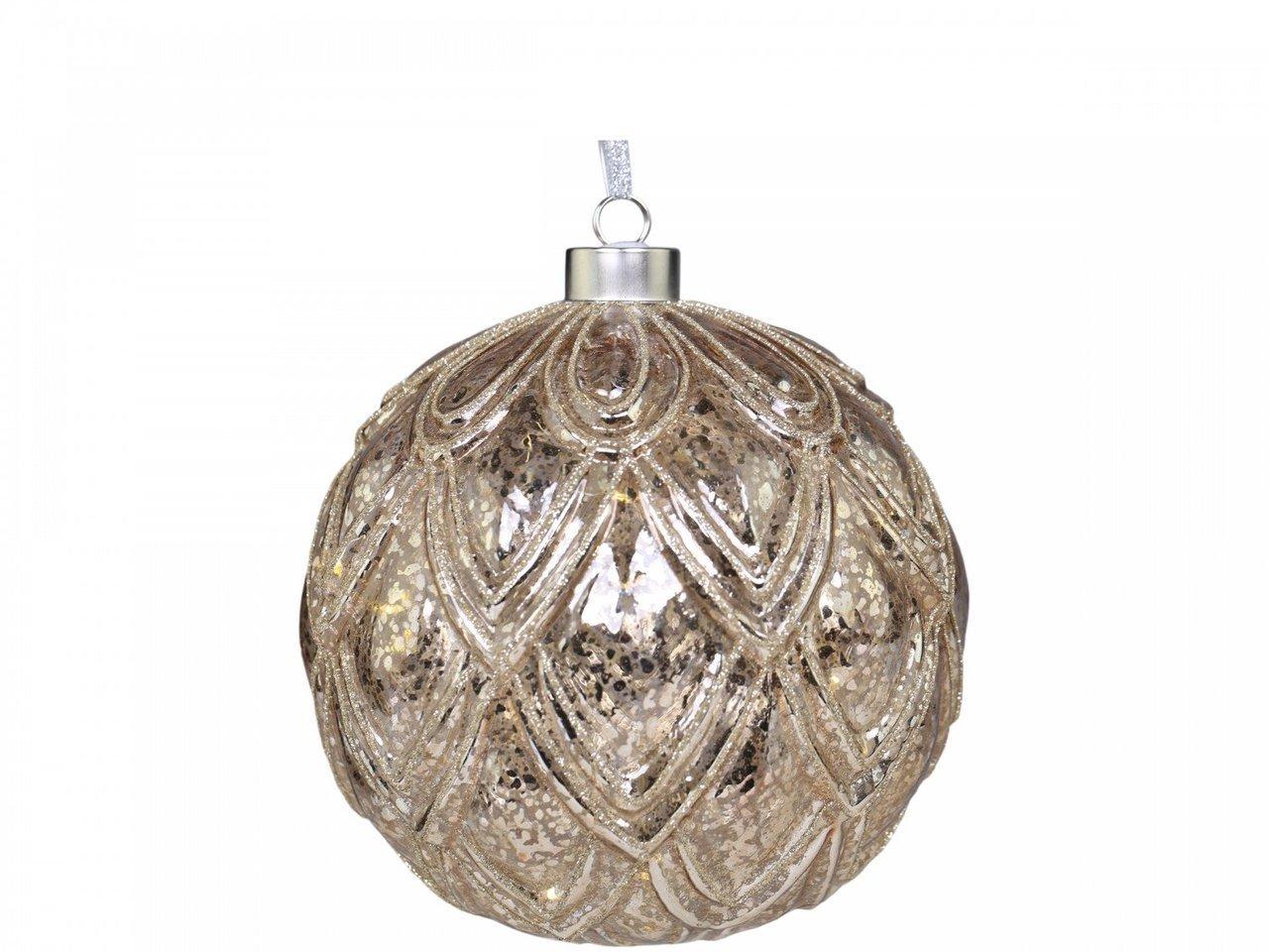 Chic Antique LED Weihnachtskugel mit Glitzer