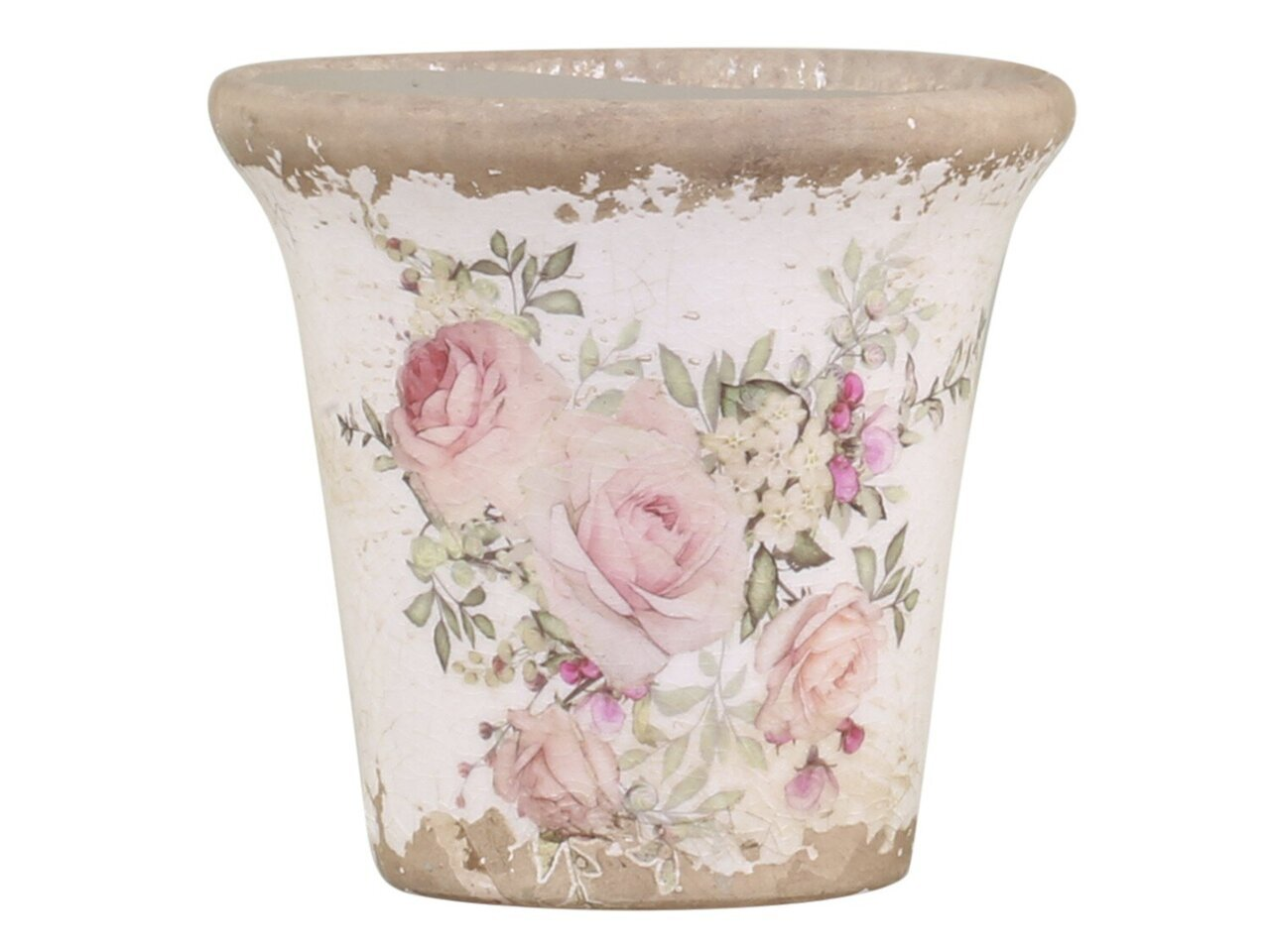 Chic Antique Naves Blumentopf mit Rosenmuster