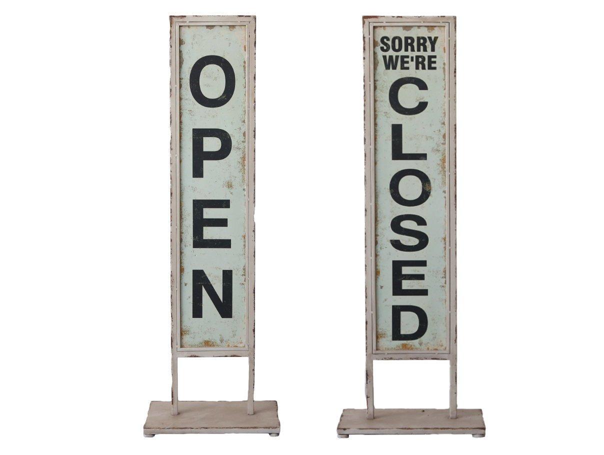Chic Antique Schild Aufsteller Open Close