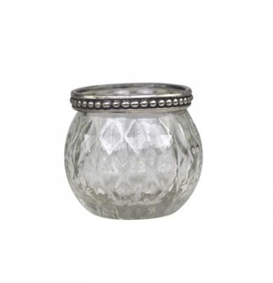 Chic Antique Teelichthalter mit Muster und Perlenkante