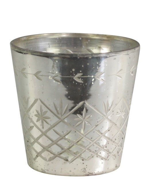 Chic Antique Übertopf mit Schliff Antik Silber