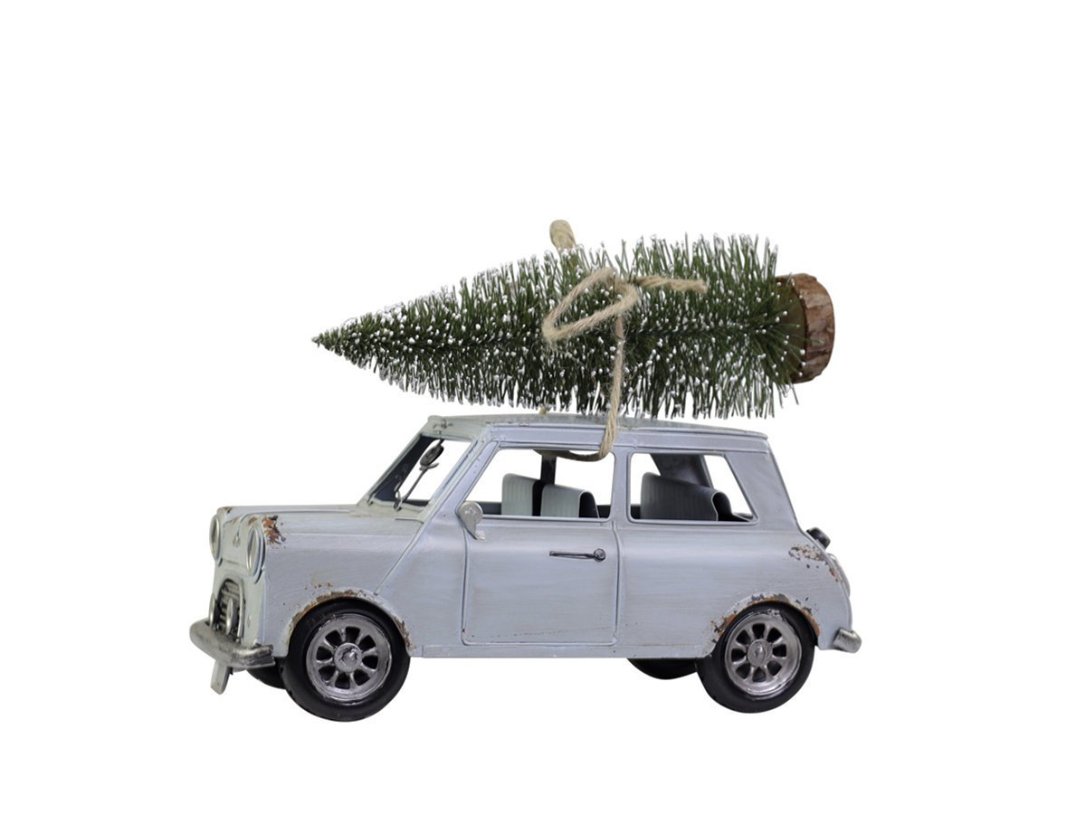 Chic Antique Vintage Auto mit Weihnachtsbaum antik blau