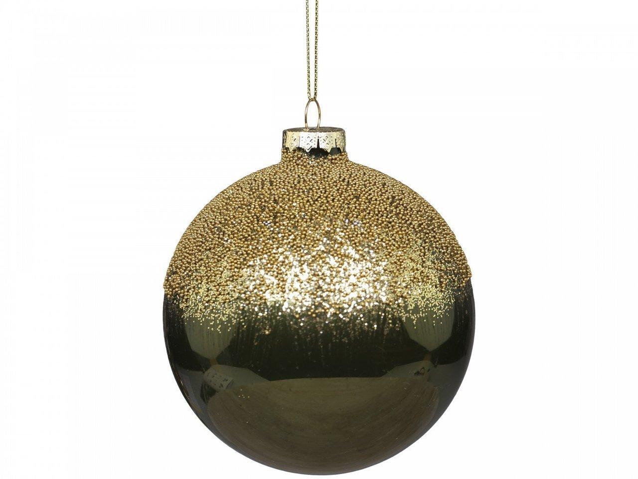 Chic Antique Weihnachtskugel mit goldener Perlenoberseite