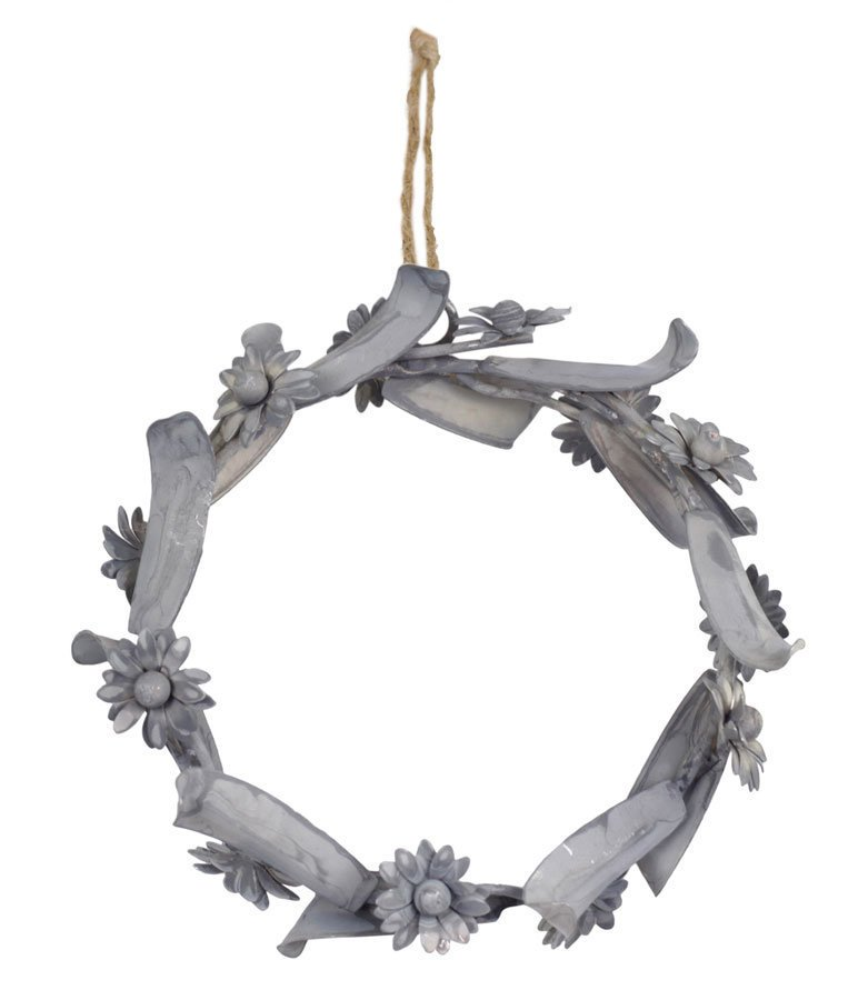 Chic Antique Deko Kranz mit Blumen aus Metall