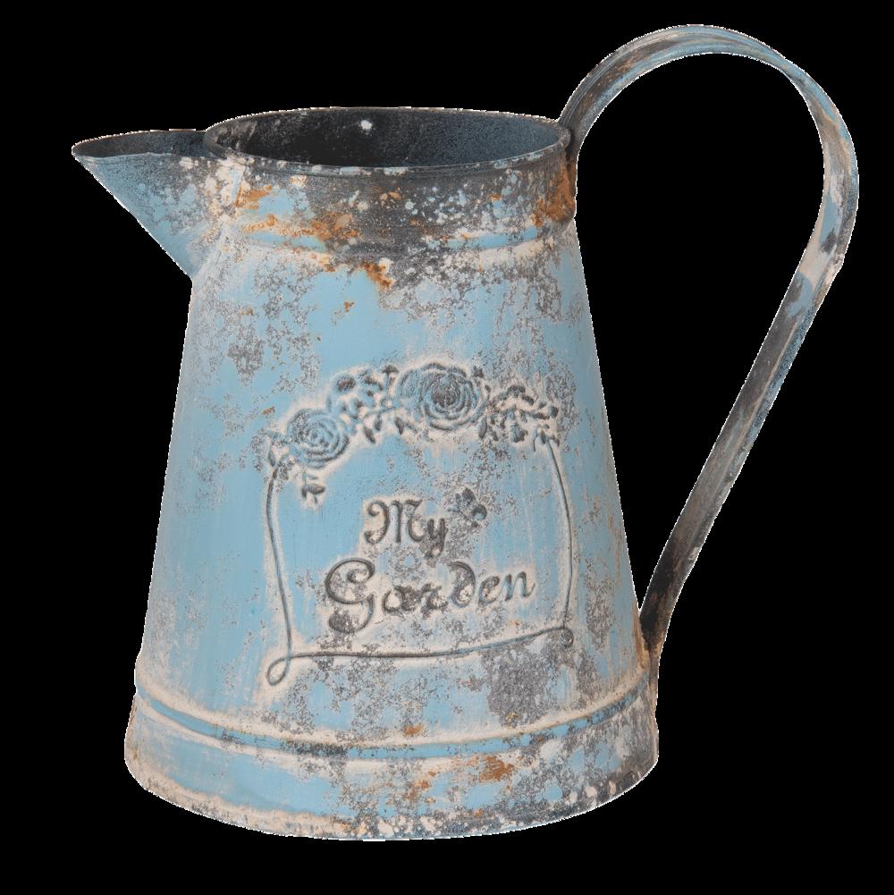 Clayre & Eef Dekoration Metall Kanne blau