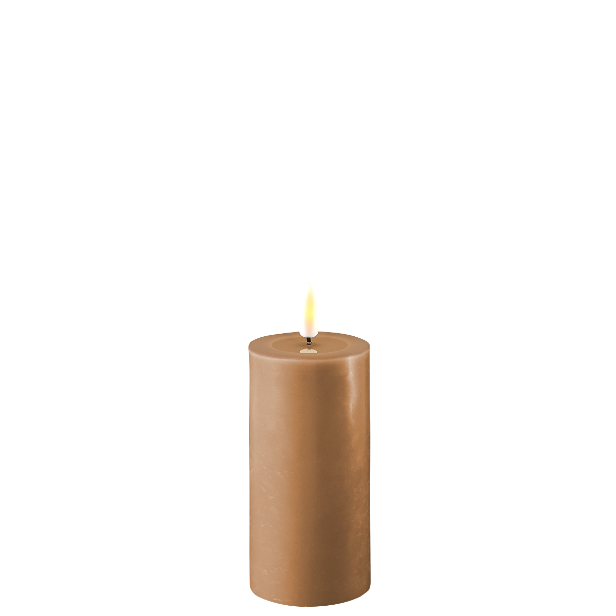 Deluxe Homeart LED Stumpenkerze Real Flame karamell