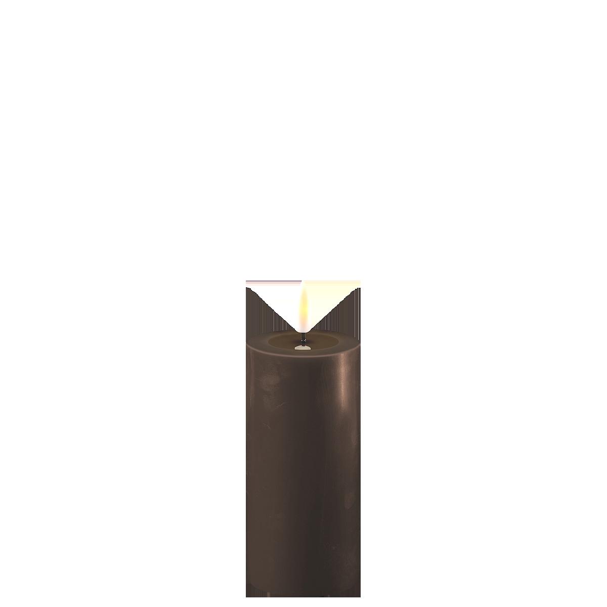 Deluxe Homeart LED Stumpenkerze Real Flame mokka