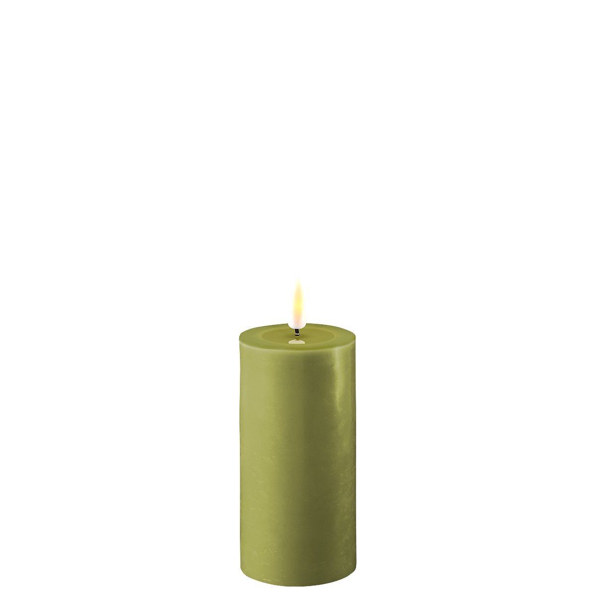 Deluxe Homeart LED Stumpenkerze Real Flame olive