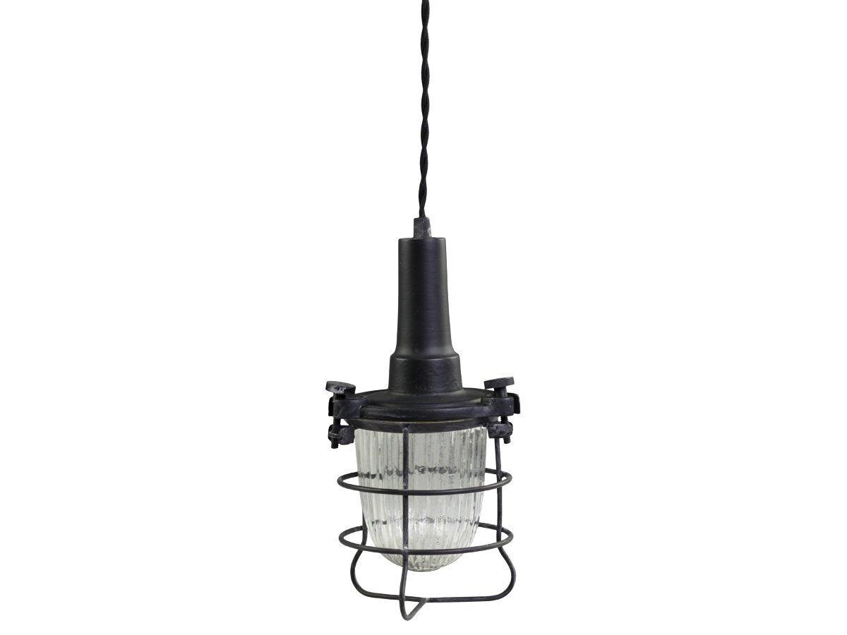 Chic Antique Factory Hängelampe Arbeitslampe mit Glas und Drahtgitter