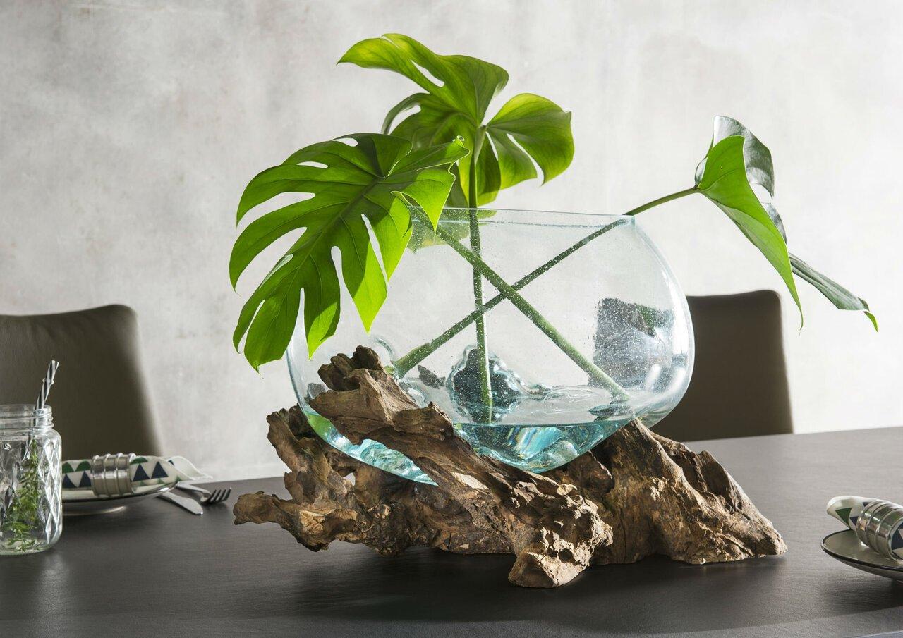 Faktorei Unikat-Dekowurzel mit Glasschale