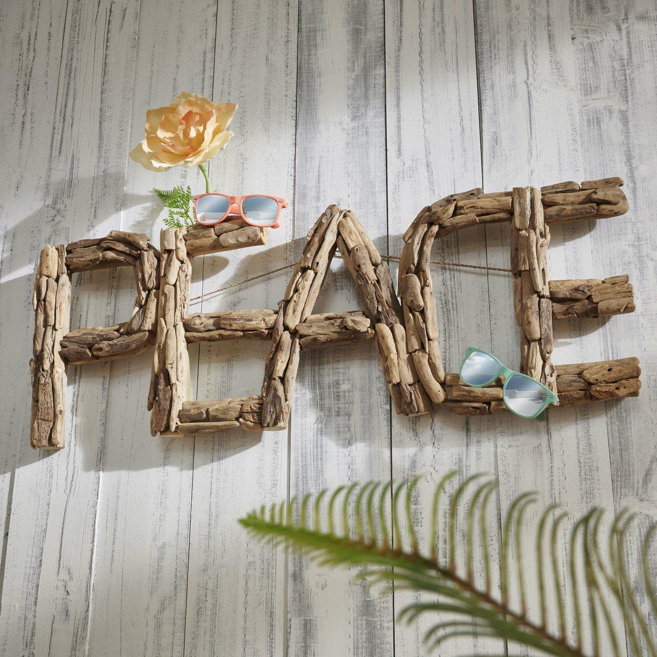 Faktorei Unikat Wand-Dekoration Peace Teakholz