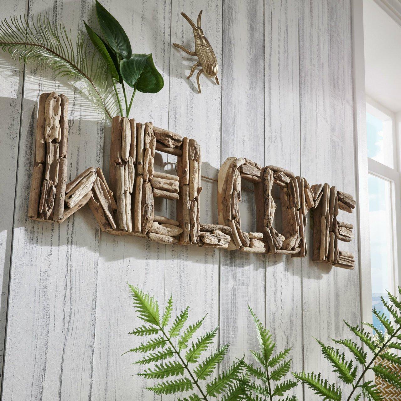 Faktorei Unikat Wand-Dekoration Welcome Teakholz