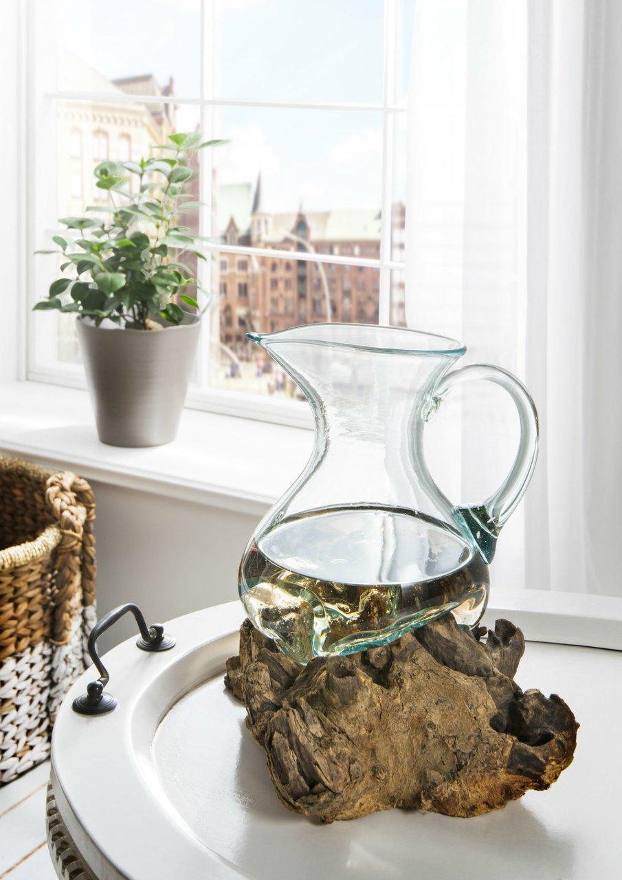 Faktorei Wurzel aus Teakholz mit Glaskrug