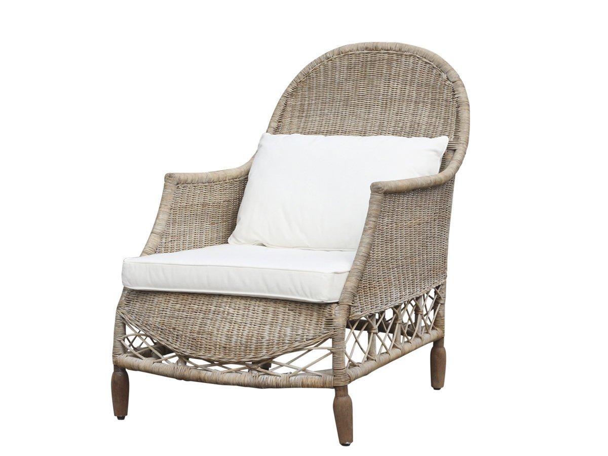 Chic Antique Französischer Sessel Rattan Geflecht