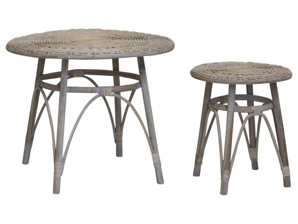 Chic Antique Französisches Tisch Set Rattan