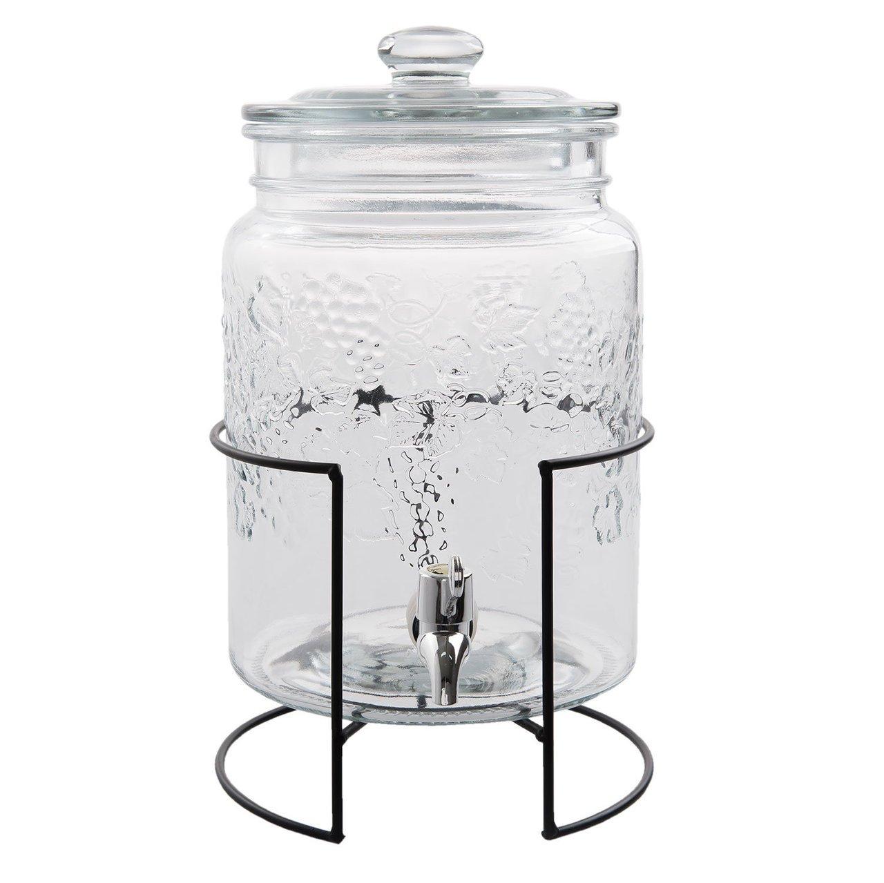 Clayre & Eef Glas Getränkespender mit Hahn 5L